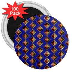Blue Geometric Losangle Pattern 3  Magnets (100 Pack) by paulaoliveiradesign