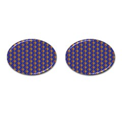 Blue Geometric Losangle Pattern Cufflinks (oval) by paulaoliveiradesign