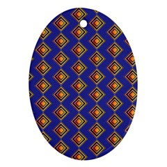 Blue Geometric Losangle Pattern Oval Ornament (two Sides) by paulaoliveiradesign