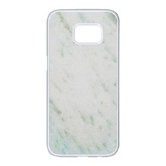 Greenish Marble Texture Pattern Samsung Galaxy S7 Edge White Seamless Case