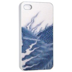 Blue Chinese Dragon Apple Iphone 4/4s Seamless Case (white) by paulaoliveiradesign