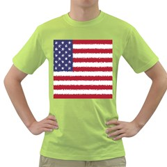 Flag Of The United States America Green T Shirt by paulaoliveiradesign