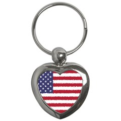 Flag Of The United States America Key Chains (heart)  by paulaoliveiradesign