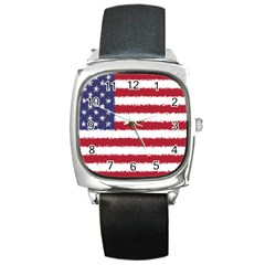 Flag Of The United States America Square Metal Watch by paulaoliveiradesign