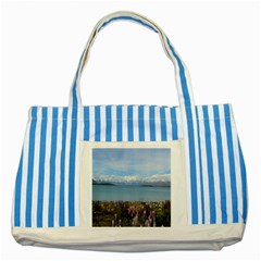 Lake Tekapo New Zealand Landscape Photography Striped Blue Tote Bag by paulaoliveiradesign