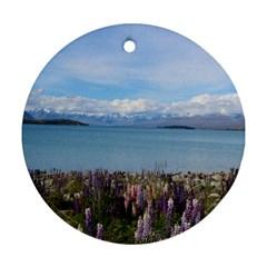 Lake Tekapo New Zealand Landscape Photography Round Ornament (two Sides) by paulaoliveiradesign
