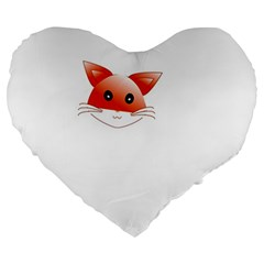 Animal Image Fox Large 19  Premium Heart Shape Cushions by BangZart