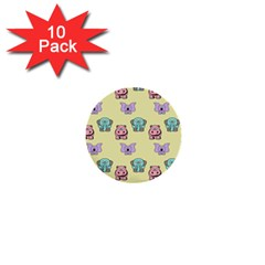 Animals Pastel Children Colorful 1  Mini Buttons (10 Pack)  by BangZart