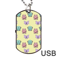 Animals Pastel Children Colorful Dog Tag Usb Flash (two Sides) by BangZart