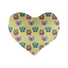 Animals Pastel Children Colorful Standard 16  Premium Flano Heart Shape Cushions by BangZart