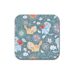 Cute Cat Background Pattern Rubber Square Coaster (4 Pack)  by BangZart