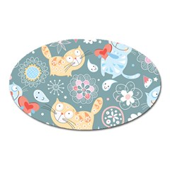 Cute Cat Background Pattern Oval Magnet by BangZart