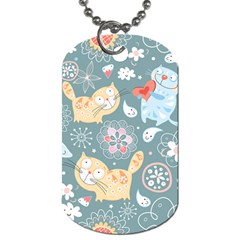 Cute Cat Background Pattern Dog Tag (one Side) by BangZart