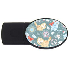 Cute Cat Background Pattern Usb Flash Drive Oval (2 Gb) by BangZart