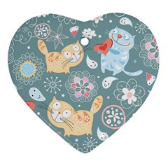 Cute Cat Background Pattern Heart Ornament (two Sides) by BangZart