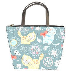 Cute Cat Background Pattern Bucket Bags by BangZart
