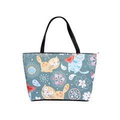 Cute Cat Background Pattern Shoulder Handbags by BangZart