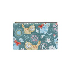 Cute Cat Background Pattern Cosmetic Bag (small)  by BangZart