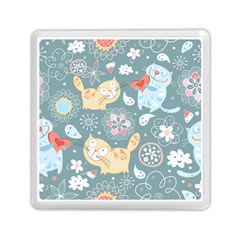 Cute Cat Background Pattern Memory Card Reader (square)  by BangZart