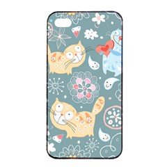 Cute Cat Background Pattern Apple Iphone 4/4s Seamless Case (black) by BangZart