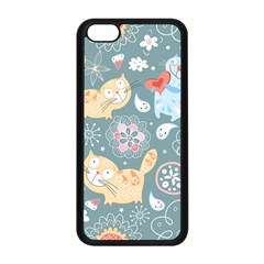 Cute Cat Background Pattern Apple Iphone 5c Seamless Case (black) by BangZart