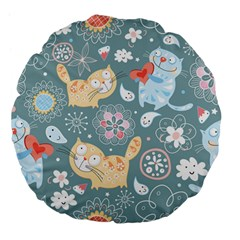 Cute Cat Background Pattern Large 18  Premium Flano Round Cushions by BangZart