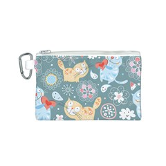 Cute Cat Background Pattern Canvas Cosmetic Bag (s) by BangZart