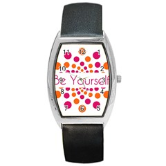 Be Yourself Pink Orange Dots Circular Barrel Style Metal Watch by BangZart