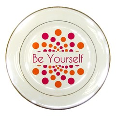 Be Yourself Pink Orange Dots Circular Porcelain Plates by BangZart
