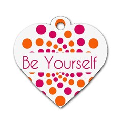 Be Yourself Pink Orange Dots Circular Dog Tag Heart (two Sides) by BangZart