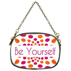 Be Yourself Pink Orange Dots Circular Chain Purses (one Side)  by BangZart
