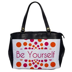 Be Yourself Pink Orange Dots Circular Office Handbags by BangZart