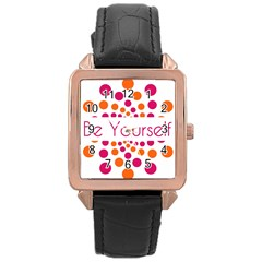 Be Yourself Pink Orange Dots Circular Rose Gold Leather Watch  by BangZart