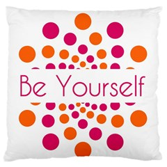 Be Yourself Pink Orange Dots Circular Standard Flano Cushion Case (one Side) by BangZart