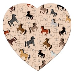 Horses For Courses Pattern Jigsaw Puzzle (heart) by BangZart