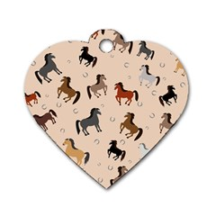 Horses For Courses Pattern Dog Tag Heart (two Sides) by BangZart