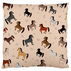 Horses For Courses Pattern Large Cushion Case (two Sides)