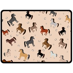 Horses For Courses Pattern Double Sided Fleece Blanket (large)  by BangZart