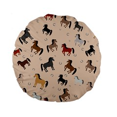 Horses For Courses Pattern Standard 15  Premium Flano Round Cushions by BangZart