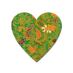 Art Batik The Traditional Fabric Heart Magnet by BangZart