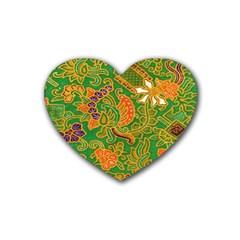 Art Batik The Traditional Fabric Rubber Coaster (heart)  by BangZart
