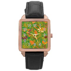 Art Batik The Traditional Fabric Rose Gold Leather Watch  by BangZart