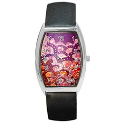 Colorful Art Traditional Batik Pattern Barrel Style Metal Watch by BangZart