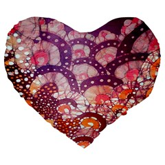 Colorful Art Traditional Batik Pattern Large 19  Premium Heart Shape Cushions by BangZart