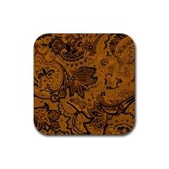 Art Traditional Batik Flower Pattern Rubber Square Coaster (4 Pack)  by BangZart