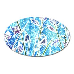 Art Batik Flowers Pattern Oval Magnet by BangZart