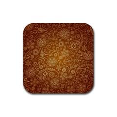 Batik Art Pattern Rubber Coaster (square)  by BangZart
