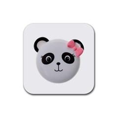 Pretty Cute Panda Rubber Square Coaster (4 Pack)  by BangZart