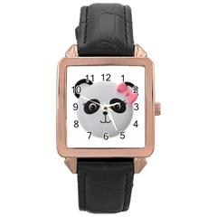 Pretty Cute Panda Rose Gold Leather Watch  by BangZart