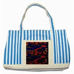 Batik  Fabric Striped Blue Tote Bag by BangZart